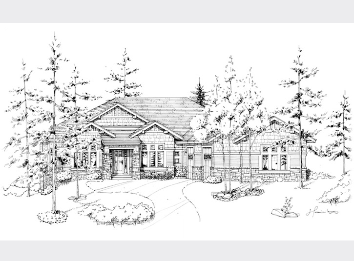 Pen and ink perspective rendering for a homebuilder. Original on 11 x 17 mylar.