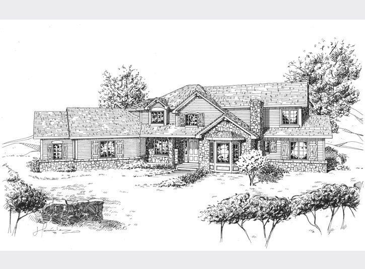 Pen and ink perspective drawing for a custom homebuilder in Colorado.