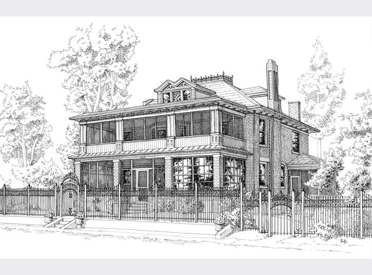 Commissioned pen and ink rendering of an old Victorian home in Denver, roughly 11 x 17.