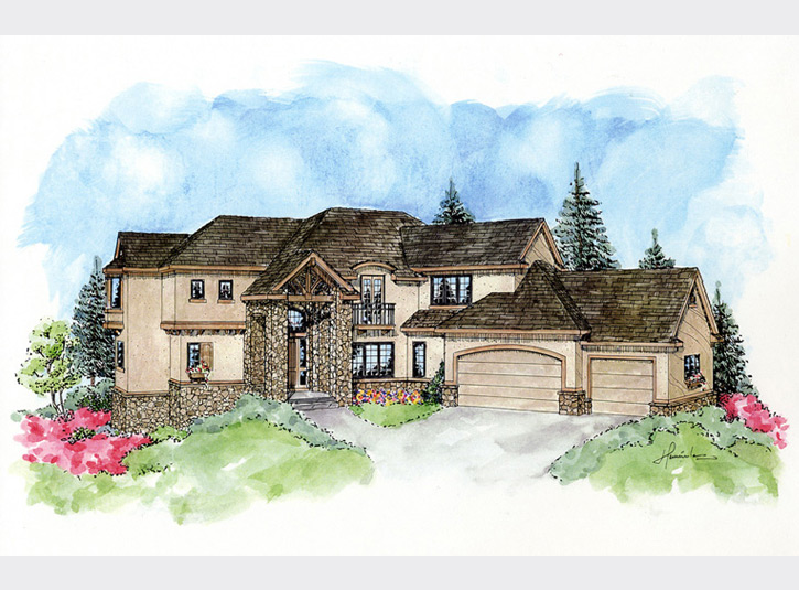 Perspective rendering for a custom home builder. Watercolor over pen and ink, 11 x 17.