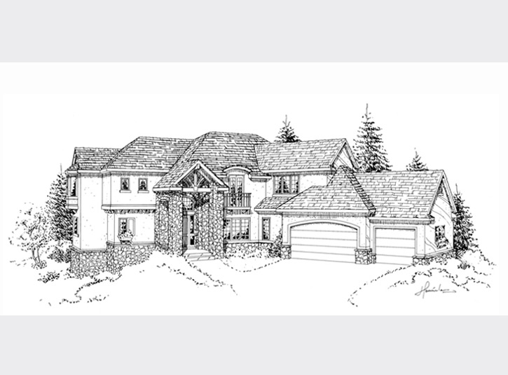 Original pen and ink drawing of the same house. The pen and ink drawing are done on 11 x 17 matte finish mylar, then photocopied onto cardstock for watercolor.
