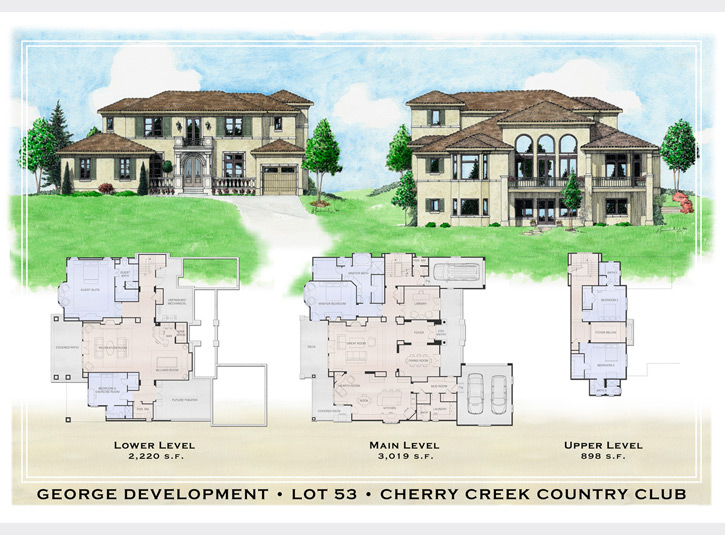 Final presentation drawing for a custom home builder, including three floorplans and watercolor front and rear elevations of the house. Approximately 30 x 40.