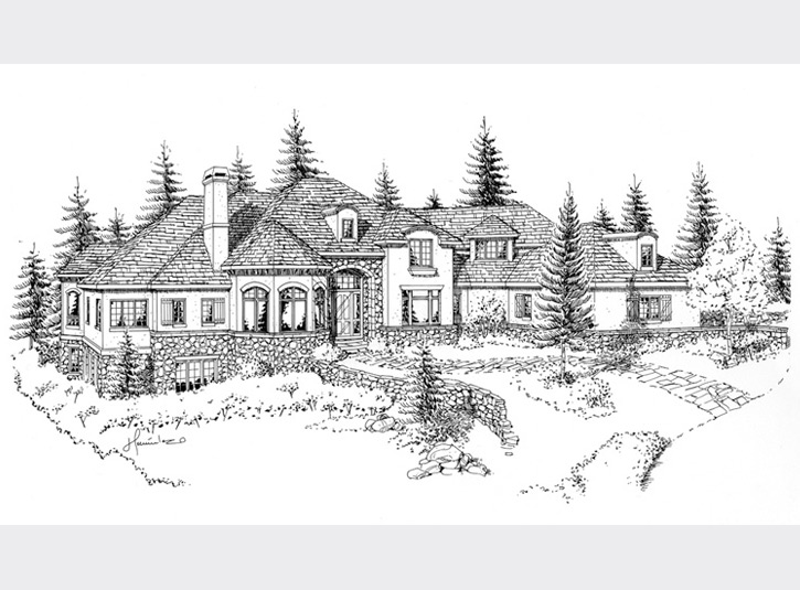 Pen and ink perspective rendering of a home for a builder. 11 x 17 mylar.