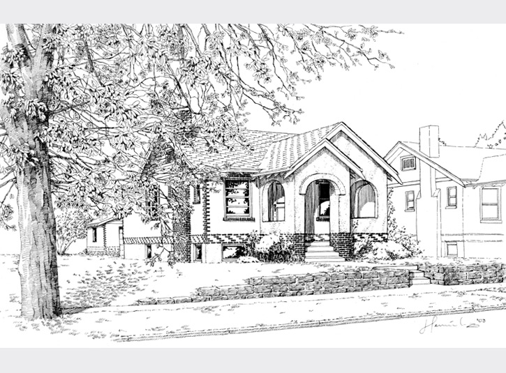 Pen and ink rendering for a custom builder for a remodel project in the Highlands in Denver. Since this was an existing house getting a facelift, I was able to use existing elements such as the tree and neighboring house to give it real context.