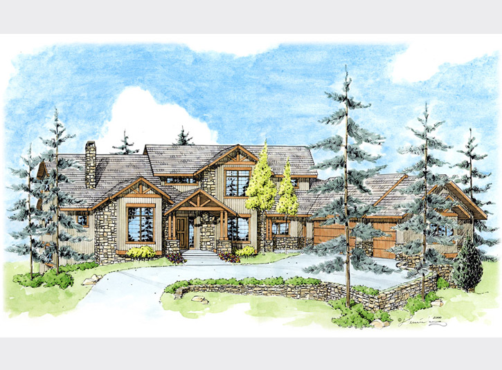 Another watercolor over pen and ink perspective rendering of a home for a custom builder.