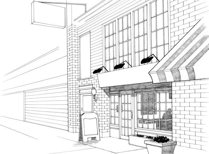 Background drawing of an Irish Pub used in the comic book adaptation of Superman Returns from DC Comics, 2006.