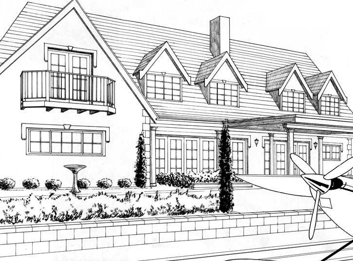 Background drawing of Lois Lane's house used in the comic book adaptation of Superman Returns from DC Comics, 2006.