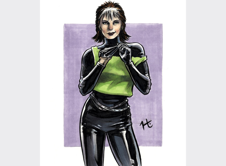 Two hour sketch of X-Men's Rogue in her costume from the 80's. Pen and ink and Copic Markers. Original available.