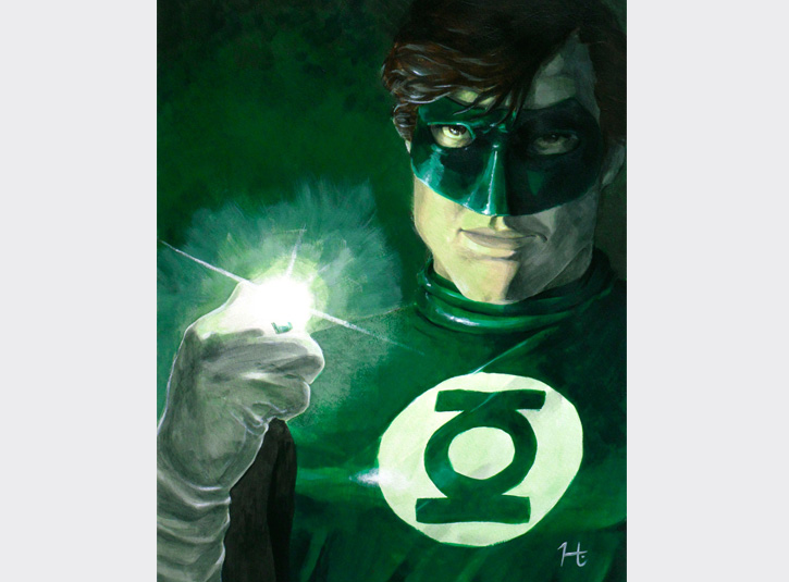 15 x 19 painting of Green Lantern. Originally done in watercolor, but later repainted with acrylics. Original available.