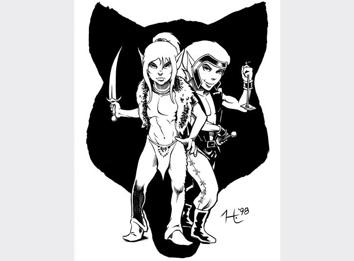ElfQuest tribute for the 1998 San Diego Comicon Souvenir Book, 2010. ElfQuest was the first comic book to hook me as a kid, with it's fantastic story and art by Richard and Wendy Pini. Original available.
