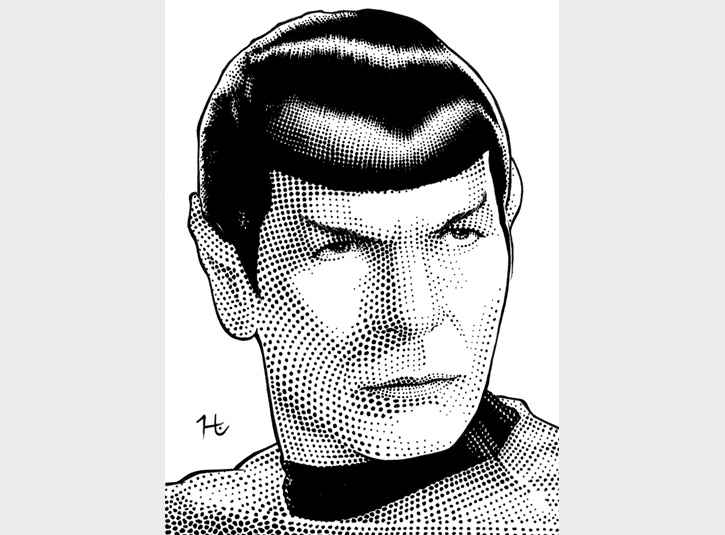 Tribute to the late Leonard Nimoy. Pen and Ink on bristol plate, roughly 4 x 6.