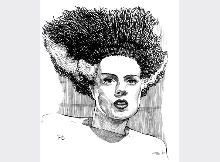 Elsa Lanchester as the Bride of Frankenstein. Pigma Microns and brush pen on bristol plate, 8 x 10.