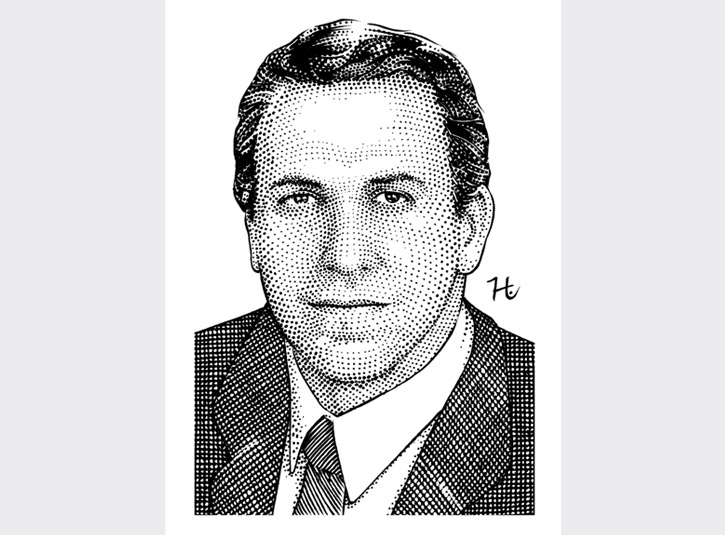 Commissioned pen and ink portrait of David Sneed, author of Everyone Has A Boss, done in the style of hedcut portraits from the Wall St. Journal.