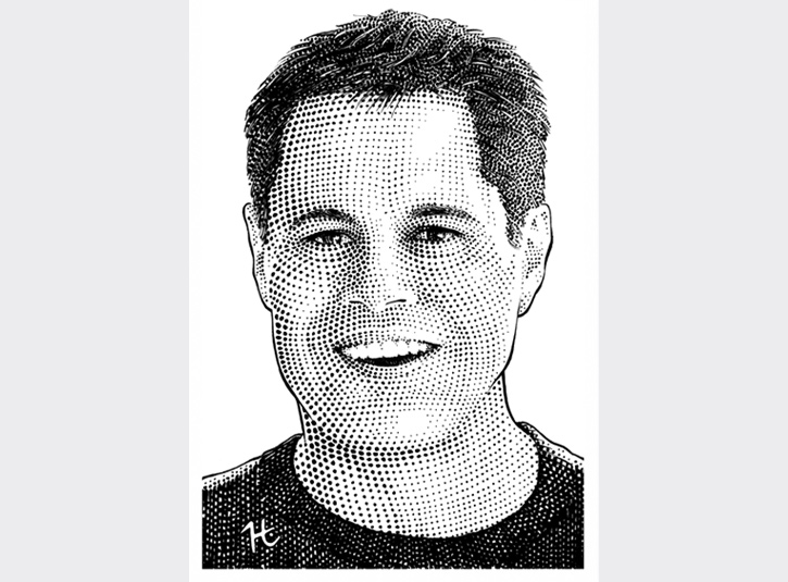 Pen and ink portrait of John Sileo, noted expert and speaker on identity theft, done in the style of hedcut portraits from the Wall St. Journal.