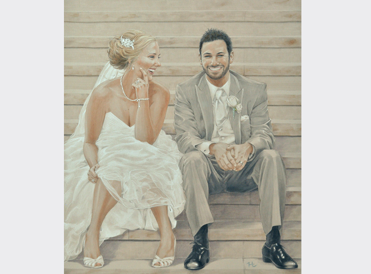 Commissioned Anniversary Portrait. Copic markers and colored pencil on gray paper, 16 x 20. Source photo by Jimmy Taaffe of Limelight Images