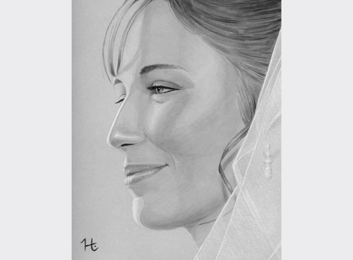 Potrait of my wife on our wedding day. Neutral grey Copic markers and white pencil on gray paper, roughly 8 x 10.