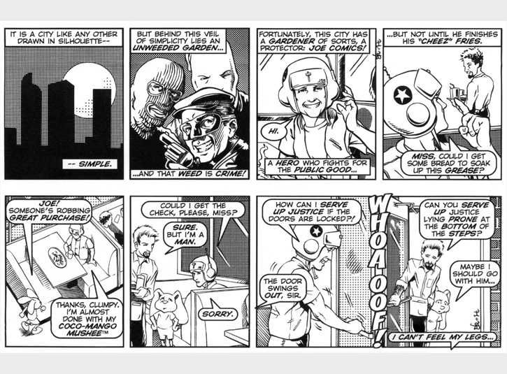 The first ever Joe Comics strips! We're introduced to Joe and Clumpy. Original art for each strip measures 4 x 13. Pen and ink and zip-a-tone with digital lettering. Pencils by Gabe Hernandez.